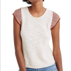 Madewell Kimble orange stripe sleeve cream sweater